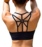 YIANNA Womens Padded Sports Bra Cross Back High Impact Strappy Yoga Bra