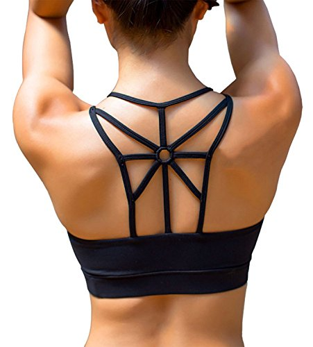 YIANNA Women's Padded Sports Bra Cross Back High Impact Wirefree Strappy Workout Activewear Running Yoga - Flat Twist Top