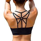 YIANNA Women's Padded Sports Bra Cross Back High Impact Strappy Yoga Bra