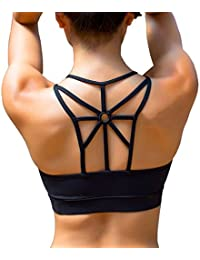 Women's Padded Sports Bra Cross Back High Impact Workout Running Yoga Bra