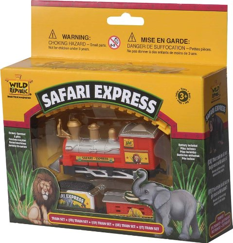 Wild Republic Safari Express Train, Battery Operated Train, Gifts for Kids, 10 piece set