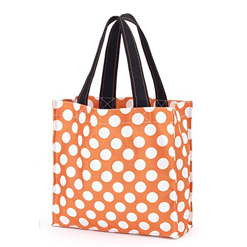 Halloween Trick-or-Treat Candy Tote Bag with Reinforced Handle and Bottom (Orange Dots)