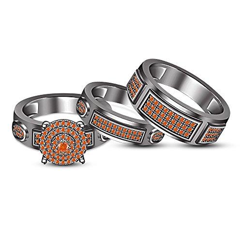 TVS-JEWELS Black Rhodium Plated 925 Silver Trio Anniversary Ring Set Round Sapphire Gemstone (Orange Sapphire) by TVS-JEWELS
