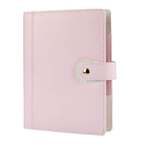 Harphia A5 Planner, A5 Planner Binder 6 Ring Binder softcover PU Personal Organizer with Snap Button Light Pink(A5 9.06 x 7.28)