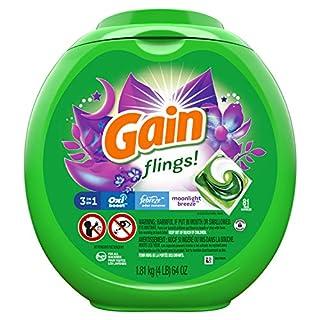 Gain flings! Liquid Laundry Detergent Pacs, Moonlight Breeze, 81 Count
