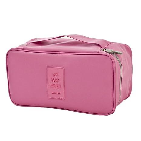 iSuperb Bolsa de viaje sujetador organizador Ropa interior Funda impermeable Personal ropa bolsa caso Gris rosa