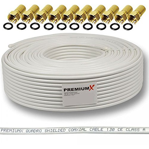 130dB 50m Koaxial SAT Kabel Antennenkabel Koaxkabel 4-fach geschirmt für DVB-S / S2 DVB-C und DVB-T BK Anlagen + 10 vergoldete F-Stecker SET Gratis dazu FULLHD 3D Digital