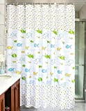 MangGou Fabric Shower Curtain,Funny Kids Shower Curtain Liner,Waterproof Polyester Bathroom Curtain With 12 Hooks,for Boys & Girls with Cartoon Fish,Mildew resistant,Machine Washable,72 x 72 inch