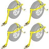 """4-Pack Auto Hauler 16"""" Tire Wheel Bonnet Cam Adjustable Tie-Down Strap"""