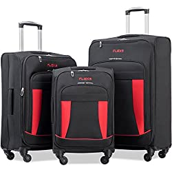 Merax Flieks 3 Piece Luggage Set Expandable Spinner Suitcase, Black&Red