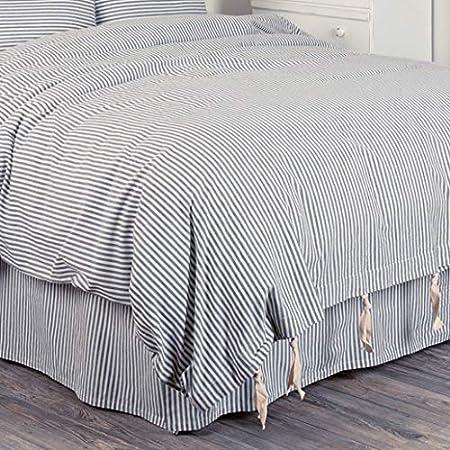 VHC Farmhouse Twin Bed Skirt Ticking Stripe Bedding Gathered Split Corners Blue