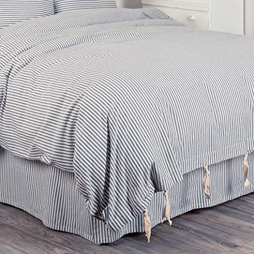 Piper Classics Farmhouse Ticking Stripe Duvet Cover Bedding, Navy Blue & Off-White, Queen 92x92, Comforter Cover w/Twill Ties, Soft, Comfortable, Farmhouse Bedroom Decor by Piper Classics (Image #4)