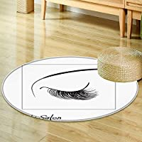 Small round rug CarpetClosed eyes with long eyelashes Sample logo for a beauty salon, beauty productsdoor mat indoors Bathroom Mats Non Slip-Round 35
