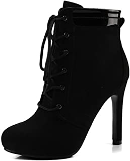 Women's Sexy Lace Up Side Zipper Ankle Boots High Stiletto Heels Frosted Martin Booties