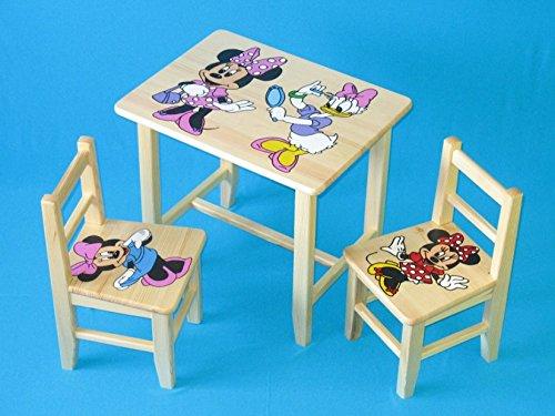Set in legno tavolino con 2 sedie per cameretta bambini. M13. Ottima idea regalo.Completo in pino con disegno a mano. ipp