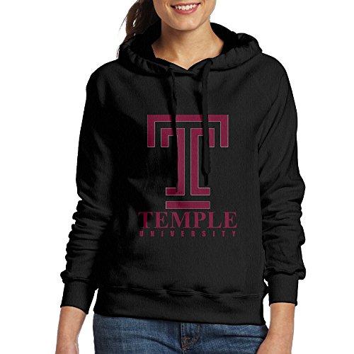 FUOALF Women's Pullover Temple University Hooded Sweatshirt Black L (Luke Kirby Halloween)
