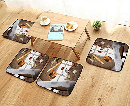 UHOO2018 Modern Chair Cushions The Fly Teacup Tablecloth Convenient Safety and Hygiene W23.5 x L23.5/4PCS Set