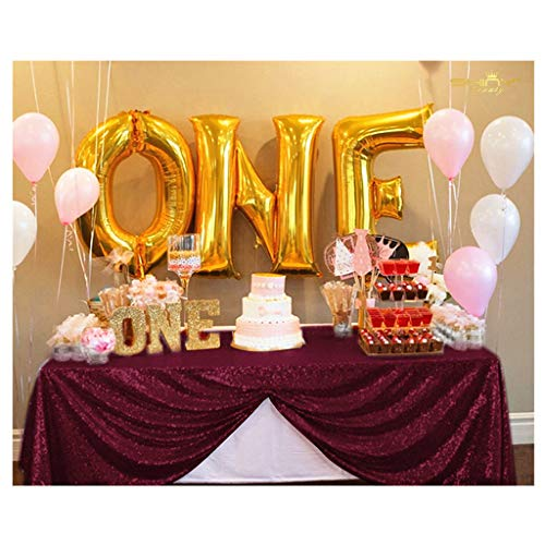 Beautiful Table Cloth Burgundy 60x102-Inch Rectangle Sequin Tablecloth Wine Table Cover Decorations for Weddings Party Baby Shower Decorations ~0103S]()
