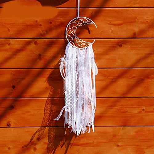 lf-moon White Dreamcatcher Handmade Dream Catcher Net With Feathers Home Wall Hanging & Wedding Decoration ()