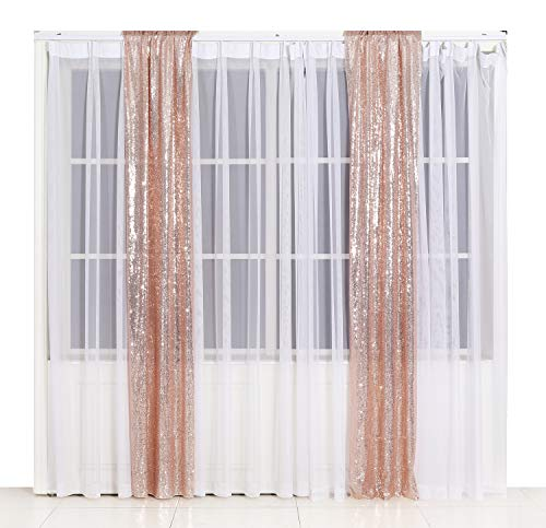 Poise3EHome 2ft x 8ft Sequin Photography Backdrop Curtain 2 Panels for Party Decoration, Rose Gold (Gold Curtains Panels 2)