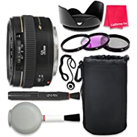 Canon EF 50mm f/1.4 USM Lens For Canon SL1 T6 T6s T6i 7D Mark II 80D 70D 6D 5D Mark III Mark IV 5DS 5DS R DSLR Cameras + Complete Accessory Kit - International Version (No Warranty)