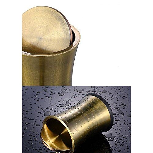 Farbe : Gold Aufbewahren & Ordnen Mülleimer Mülleimer Kreativer Edelstahl Abgedeckter Flip Der Deckel Mute Home Badezimmer Wohnzimmer Schlafzimmer 8L