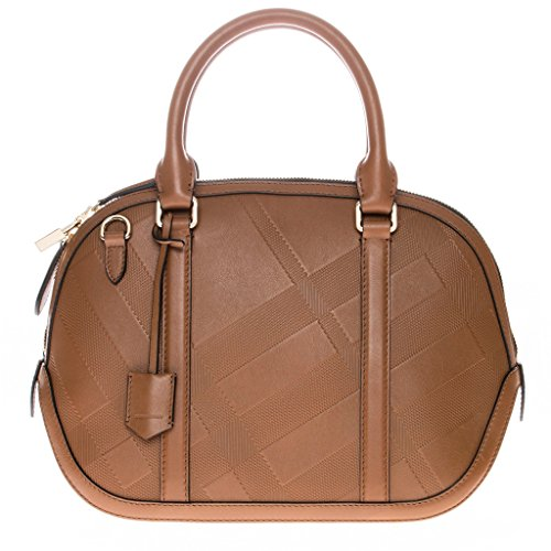 Burberry Women's Small Soft Check Orchard Bowling Bag Tan
