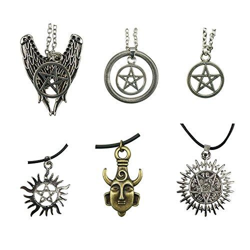 Megrez 6 Pcak Different Supernatural Dean Winchester Mask Pendant Necklace Two-sided Pendant