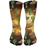 Mexican Sombrero Hat Cactus Pattern Unisex Novelty Crew Socks Ankle Dress Socks Fits Shoe Size 6-10