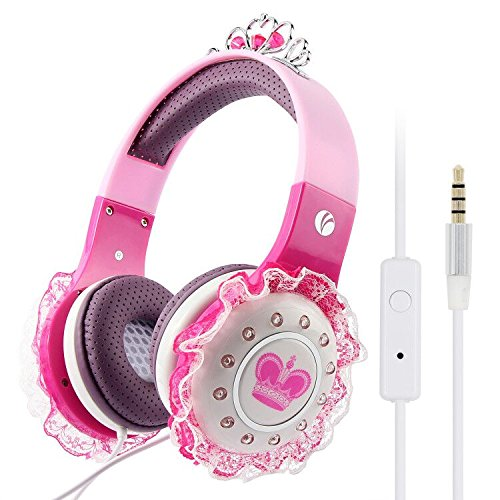 VCOM Kids Headphones for Girls, Children, Toddler, Teens, Adjustable Over Ear Princess Headset with Volume Limited, 3.5mm Audio Jack Compatible for Tablets Kindle iPad PC Laptops Smartphone (Pink)