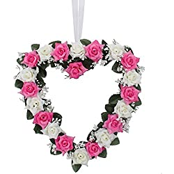 Heart Shaped Rose Wreath Hanging Wreaths Flowers Garland with Silk Ribbon for Home Door Wall Decor Wedding Car Decoration (Pink and White)
