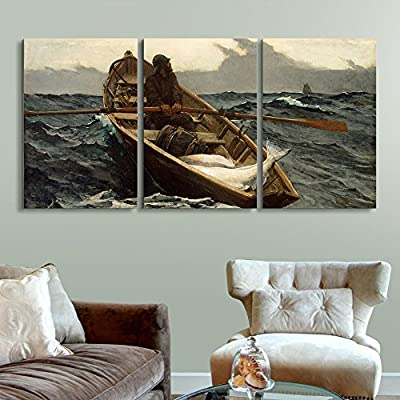 3 Panel World Famous Painting Reproduction The Fog Warning by Winslow Homer x 3 Panels