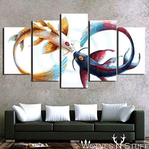 Prints On Canvas 5 Pieces Artwork Koi Fish Yin Yang Background Picture Art Print Wall Home Office Decoration,A,40x60x2+40x80x2+40x100x1