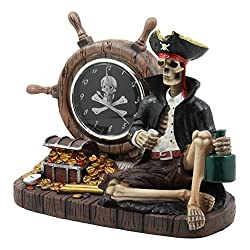 Ebros Drunken Pirate Captain Sparrow With His Rum Skeleton Analog Table Clock Figurine Pirate Rum O'Clock Time Decorative Sculpture