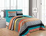 California Drapes 6PC Printed Stripe Oversize Quilt, Set Includes 1 Quilt, 2 Pillow Shams, 1 Fitted Sheet & 2 Pillowcases, NO Flat Sheet (Cal-King)