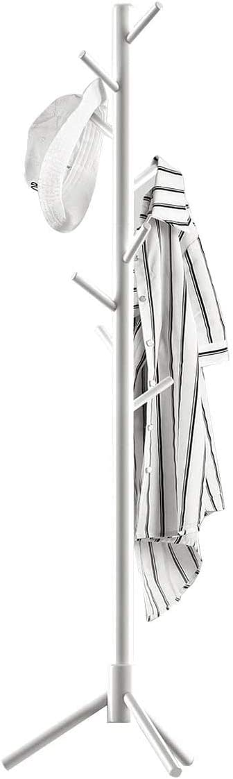 Modern Coat Rack Sturdy Wooden Coat Tree, 8 Hooks and 3 Adjustable Sizes are Super Easy Assembly No Tools Required, Coat Hanger Free Standing for Clothes Hats and Bags, at Home, Office (White)