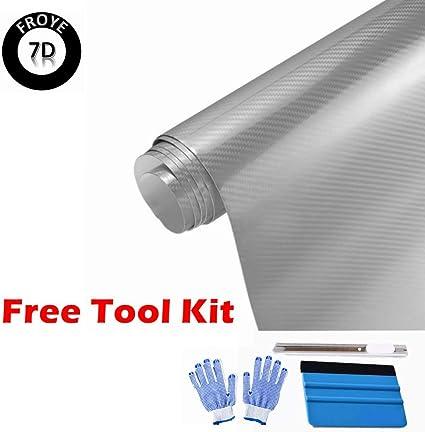 3D Carbon Fiber Air Release Stretchable Car Vinyl Film 5ft x 1ft Silvery Gray