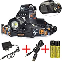 SyGyn(TM) Aluminum Boruit 2000LM LED Headlamp XMLT6 Rechargeable Zoomable18650 Headlight USB POWER BANK lampe frontale+Battery / charger
