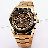 BEST SELLING RUSSIAN SKELETON Luxury Men's Automatic Mechancial Wrist Watch Golden Strap Black Dial