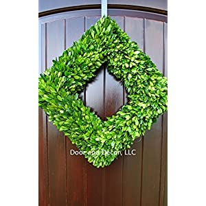 Green Preserved Square Boxwood Wreath in 20 inch Diameter for Home Decor 44