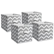 DII Fabric Storage Bins for Nursery, Offices, & Home Organization, Containers Are Made To Fit Standard Cube Organizers (11x11x11 ) Chevron Gray - Set of 4