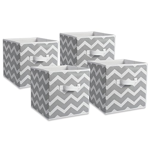 DII Fabric Storage Bins for Nursery, Offices, Home Organization, Containers are Made to Fit Standard Cube Organizers (11x11x11) Chevron Gray - Set of 4 by DII