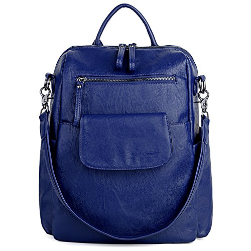 Washed Purse Leather Shoulder Backpack Ladies UTO Blue Women PU Rucksack Bag OwnIwUq