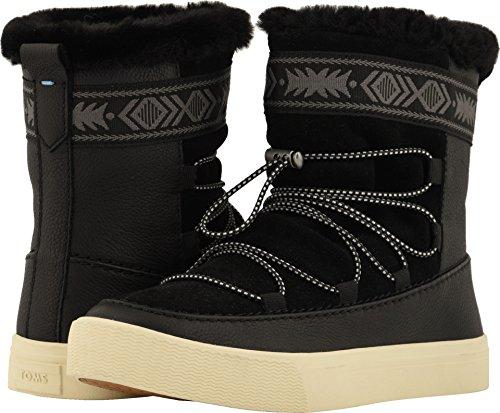 (TOMS Women's Alpine Water-Resistant Boot Black Leather/Suede/Faux Fur 8 B US)