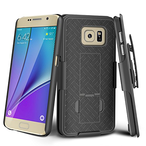 Galaxy S6 Case, TILL [Thin Design] Holster Locking Belt Swivel Clip Non-slip Texture Hard Shell [Built-In Kickstand] Combo Case Defender Cover For Samsung Galaxy S6 S VI G9200 GS6 2015 Release [Black]