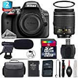 Holiday Saving Bundle for D3300 DSLR Camera + AF-P 18-55mm + 2yr Extended Warranty + 32GB Class 10 Memory Card + Case + UV Filter + Cleaning Kit + Cleaning Brush - International Version