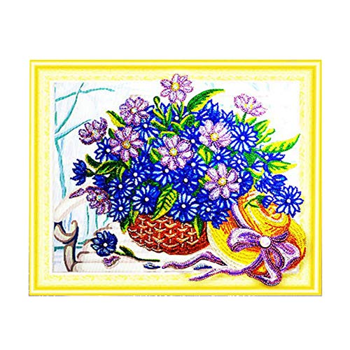Smartcoco Flower Basket Part Drill Crystal Painting 5D Shaped Diamond Painting DIY Wall Sticker 3D Diamond Mosaic Cross Stitch Embroidery Wall Craft Decor, 18.5