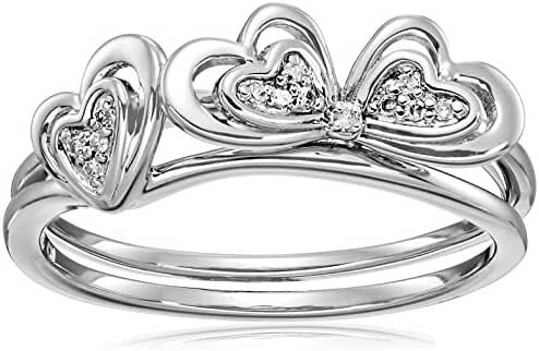 Sterling Silver Double Clover Interlock Diamond Accent Ring