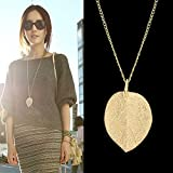 Amazon Price History for:Feelontop Costume Jewelry Gold Color Alloy Leaf Design Pendant Necklace for Women with Jewelry Pouch