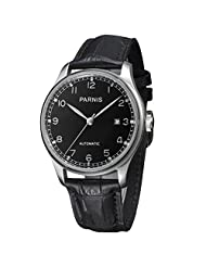 WhatsWatch 43mm parnis black dial seagull 2551 movement automatic mens watch PA-064